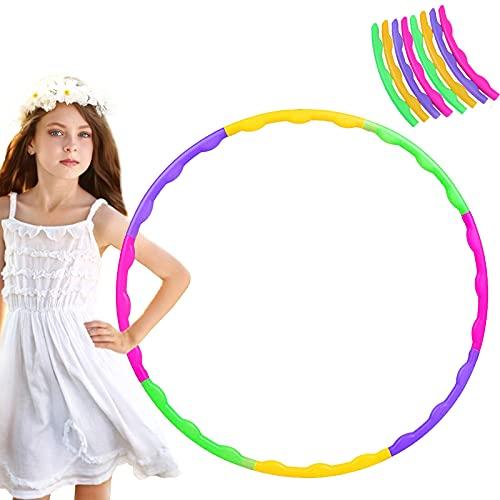 QOSE Hula-Hoop-Reifen für Kinder, 8 Abschnitt Farbe Kinder Fitness Hula Hoop Gymnastik Kreis, Zerlegbar Hoola-Reifen Geeignet für Drinnen und Draußen für Training/Sport/Spiel/Fitness