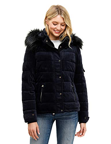 Royal Matrix Women's Hooded Puffer Jacket Short Winter Puffer Coat Full Zip Warm Thickened Coat (Sapphire, 0)