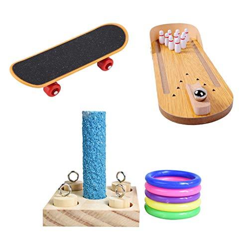 Bird Training Educational Chewing Toys ,Set Mini Bowling Stacking Ring Skateboard