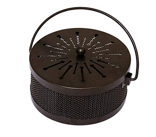 Mornenjoy Summer Decorative Mosquito Coil Holder Mosquito Coil Container,Incense Holder Safe Burning Coil Tray for Home Patio Pool Side Outdoor (Fireworks-Round-Bronze)