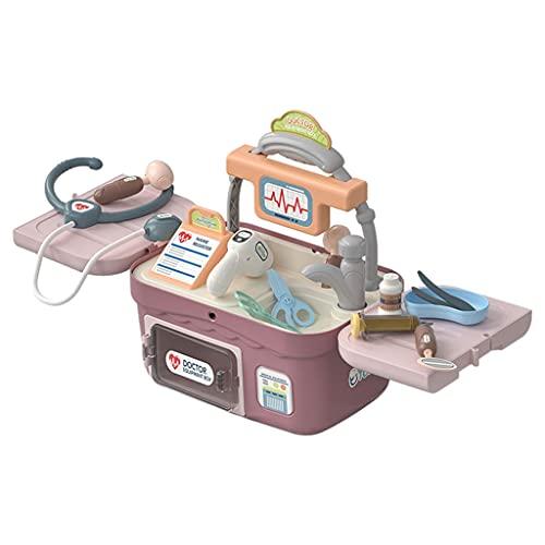 Perfeclan Kit de Doctor 18 Unidades de termómetro de Doctor Kit de Estetoscopio 2 en 1 Juego de simulación Aprendizaje Educativo Doctor Juego de rol Juguetes en - Rojo