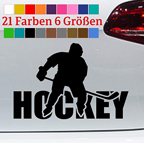 Generisch Aufkleber Hockey + Spieler Schrift Eishockey Ice Schläger DEL NHL Puck Helm JDM in 6 Größen und 21 Farben