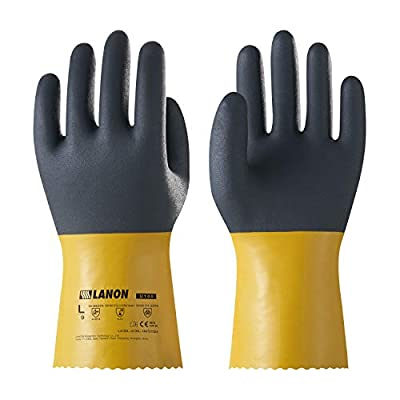 LANON PVC Coated Chemical Resistant Gloves, Reusable Heavy Duty Safety Work Gloves, Acid, Alkali and Oil Protection, Non-Slip, XX Large