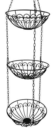 khevga Obstkorb hängend mit Haken Hänge-Regal Hänge-Etagere Höhe individuell einstellbar - die Küchenampel zum Hängen im Landhaus-Stil