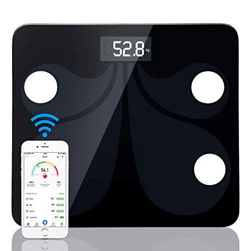 sumuya Báscula Grasa Corporal,Báscula de Baño Digital Alta Medición Precisa180 kg/400 lbs, Balanza Digital Baño, Báscula Electrónica, Medidora Composición Bluetooth para Móviles Andriod y iOS
