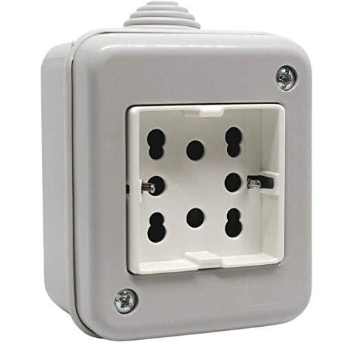PATABIT Presa Elettrica da Muro In Scatola Da Esterno A Parete Idrobox IP40 | Scatola Esterna Stagna Con Presa Per Due Bipasso o Una Schuko | Presa Corrente