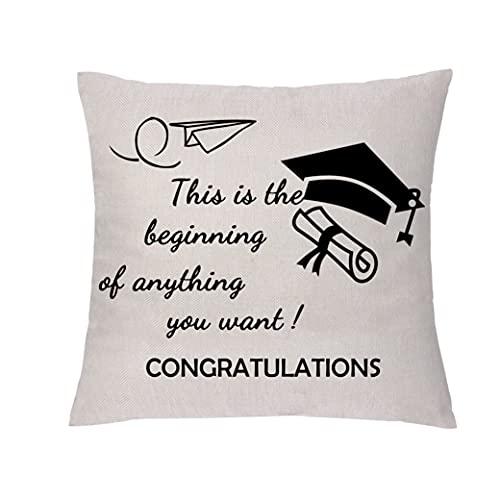 "GHORIHUB - Federa per cuscino con scritta ""This is the beginning of anything you want congratulations"", idea regalo per la laurea"