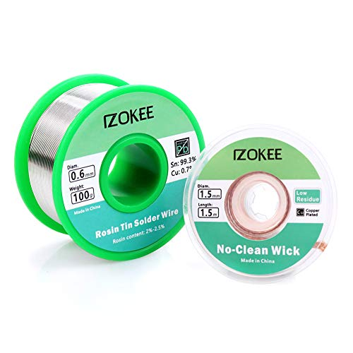 IZOKEE Solder Wire Rosin Core 100g 0.6mm with No-Clean Desoldering Wick 1.5mm Solder Wick for Electrical Soldering