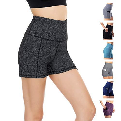 WateLves Damen Hohe Taille Yoga Sporthose Shorts Capri Fitness D¨¹nne Hosen Schnell Trocknende Trainieren Mit Taschen Elastische Tanzen Workout Leggings(Dunkelgrau,XL)