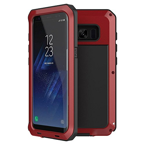 B4Uebuy Alloy Aluminum Metal Case Compatible With Galaxy S8 Plus ,Shockproof Extreme Hybrid Full Body Military Rugged Heavy Duty Dual Layer Screw Bumper Cover for Samsung Galaxy S8 Plus 6.2'' (Red)