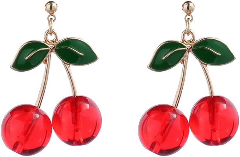 18K Gold Plated Fruit Earring 3D Green Leaf Red Cherry Charm Tassel Drop Stud Earrings-Red