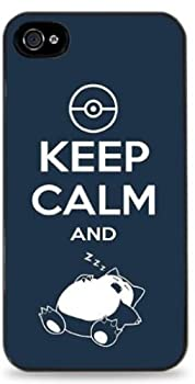 Keep Calm and Snorlax Pokemon - Black Silicone Case for iPhone 5C - 463