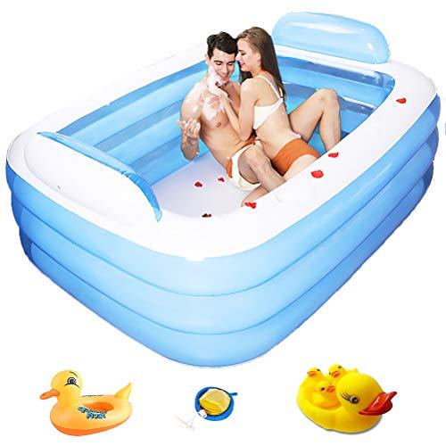 PVC Rechthoekige Kleuterbad opblaasbaar zwembad voor volwassenen met een pomp en opblaasbare Kid's Pools,Blue,180 * 140 * 60cm