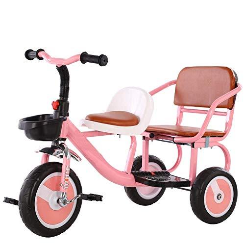 WLD Tricicli bici da allenamento per bambini 'Tricicli Triciclo a due ruote Passeggino gemellato Bicicletta multifunzione per bambini Può portare persone Sedile a due posti Morbido sedile Regalo di c