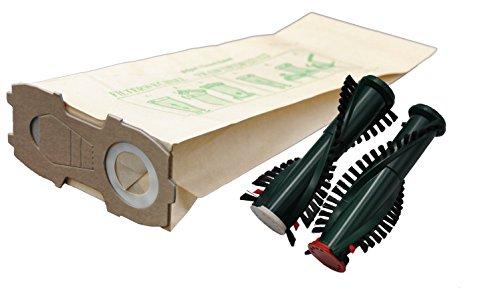 20 Staubsaugerbeutel mit extra starkem Flansch + Ersatzbürsten geeignet für Vorwerk Kobold 118 119 120 121 122 mit ET 340 EB 350 351 F