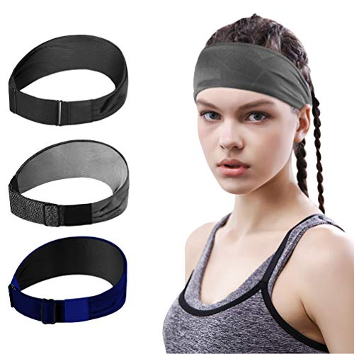 VBIGER Workout Headbands for Women - 3 Pack Sweatbands Sports Headband Athletic Headbands for Running Cycling Yoga Basketball Elastic (Set 2)