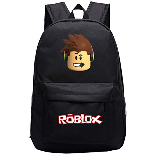 Roblox School Backpack -YUESEN Black Roblox School Bag Travel Backpack Kindergarten Cute Children Cartoon Schoolbag Large Capacity Backpack Kids Backpack for Boy and Girl
