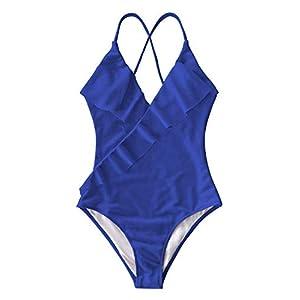 CUPSHE Women's One Piece Swimsuit Ruffle Wrap Textured Beach Swimwear Bathing Suits