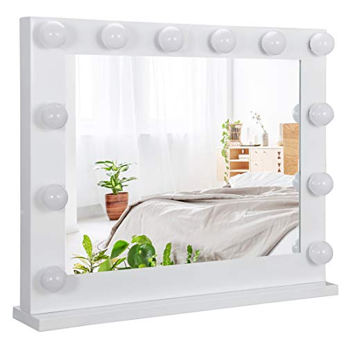 SUPER DEAL Plus Clear Hollywood Vanity Mirror Lighted Vanity Makeup Mirror Makeup Mirrors with Lights Cosmetic Makeup Mirror w/14 Dimmable Bulbs, Tabletop or Wall Mounted (Newest)