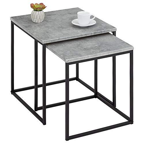 IDIMEX Couchtisch Istanbul, quadratischer Beistelltisch Ablagetisch Wohnzimmertisch, Metall, MDF Tischplatte in Beton Dekor, im 2er Set