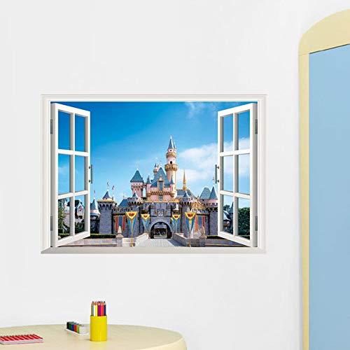 Faux Windows Sea Beach Castle 3D Stickers Muraux Décor À La Maison Windows Amovible Fond Coloré