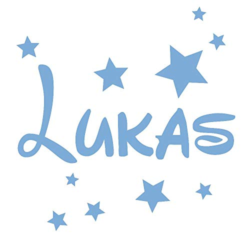 timalo® Wandtattoo mit Namen für Kinder – inkl. Sterne – personalisierbar für Jungen und Mädchen | 73077b-lichtblau-40cm-20sterne
