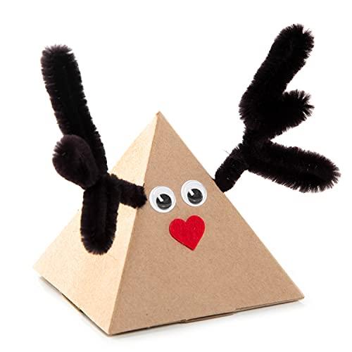 Logbuch-Verlag 5 małych pudełek prezentowych z reniferem i jeleniem – świąteczne opakowanie w kształcie piramidy mini pudełko na prezent na Boże Narodzenie