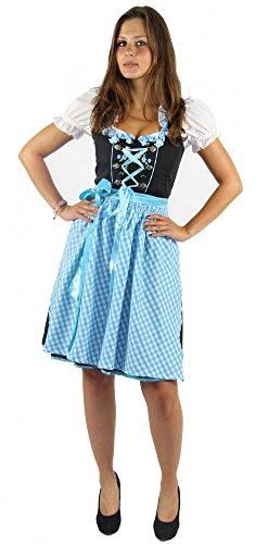 Foxxeo Dirndl für Damen Trachten-Kleid mit Bluse und Schürze - schwarz weiß türkis - Größe XXL