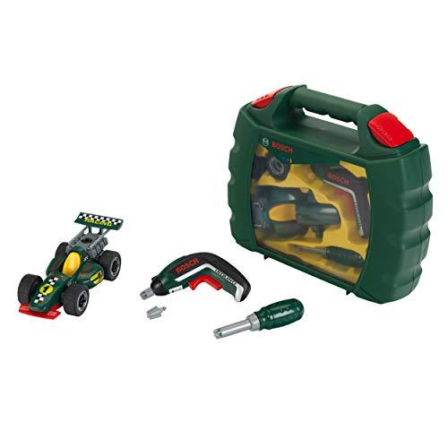 Theo Klein 8395 Werkzeugkoffer-Set Bosch Grand Prix mit Ixolino-Akkuschrauber I Schraubbarer Rennwagen I Maße: 32 cm x 26 cm x 9 cm I Spielzeug für Kinder ab 3 Jahren