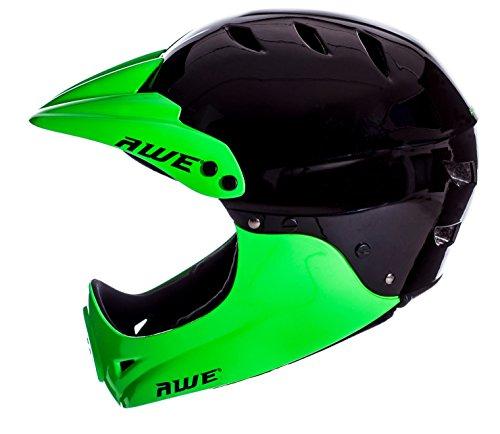 AWE® gratis 5Jahr Crash Ersatz * BMX Full Face Helm schwarz grün, Größe M 54–58cm - 6