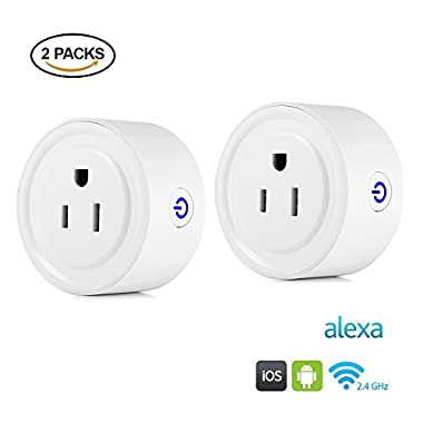 Famirosa 2 Pack Smart Plug Outlet, Wi-Fi Enabled Mini Smart Switch Work with Amazon Alexa & Google Home, ETL Listed with Timing Function for Smartphones