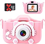 Kids Camera 1080P HD Digital Dual Camera 20MP Video Camcorder Toddler Selfie Video Record Camera with 32GB TF Card 5 Puzzle Games Birthday Electronic Toys Gifts for 3-9 Year Old Girls and Boys-Pink