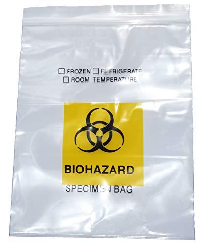 Daarcin 100pcs Biohazard Specimen Bags, 4.6x6in/12x15cm Laboratory Sample Ziplock Top Bag with Biohazard Logo Printing
