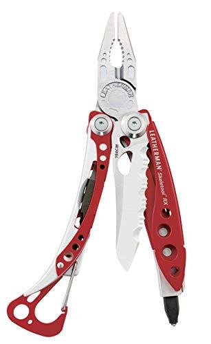 LEATHERMAN - Skeletool RX, l'outil multifonction avec couteau dentelé et brise-verre, avec étui nylon, coloris rouge