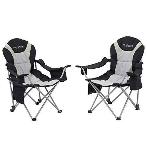 Folding Camping Chairs, Outdoor Camping Chairs Lightweight Heavy Duty with Cup Holder Storage and Cooler Bag (2 pcs, Grey)