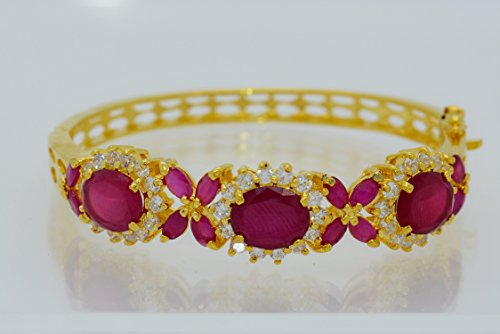 22k Yellow Gold Plated Thai Flower Cz AAA Syn Ruby Bracelets Cuff Bangle 5 Mm 5.5 Cm