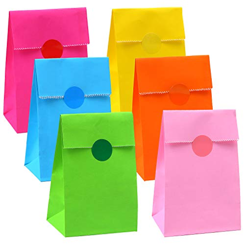 Cooraby 30 Pieces Mini Paper Party Bags Lunch Paper Bags Flat Bottom Kraft Party Bags Craft Paper Bags Grocery Bags with 72 Pieces Label Stickers, 6 Colors