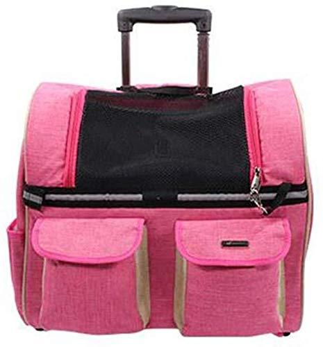 ZHANGPETBAG CS-CAR High-end bag pet trolley cane fuori trolley cane e gatto Zaino multiuso (Colore: Rosa rossa, Dimensione: 45 * 24 * 28cm) (Color : -)