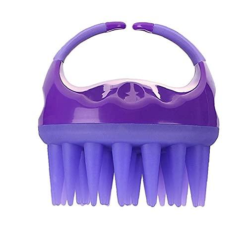 AtheMeet Champú Cepillo de baño Ducha Peine Cepillo Limpio del Cuero cabelludo Massager de Silicona Suave Masaje Body Wash Pelo Adelgaza Peine púrpura