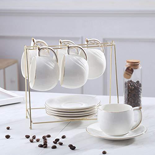 ZHJC Juego de Tazas de Té de Porcelana Placa de cerámica Taza de café con Chapado en Oro del Juego de té de bambú y el Marco de Madera de calefacción y Aislamiento Exhibición