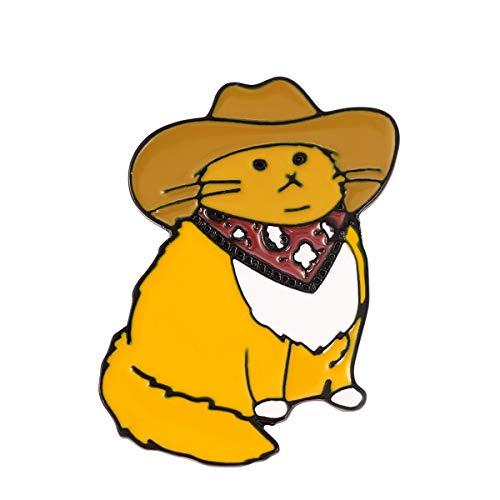 JiuErDP Lindo Sr. Cat Broche Creative Western Cowboy Cat Sticge Broches y alfileres