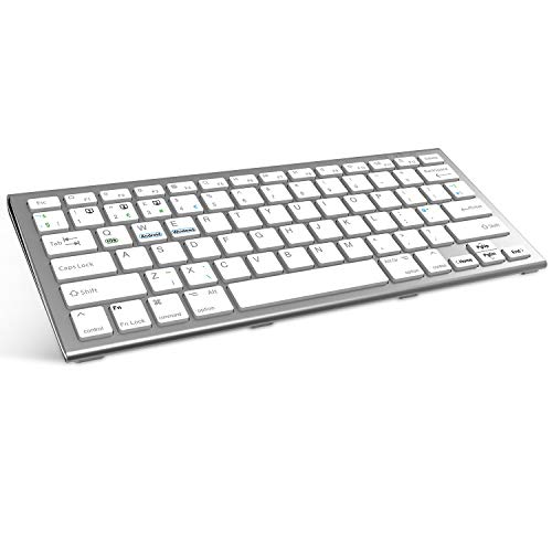 FENIFOX Bluetooth Keyboard,Wireless Keyboard Rechargeable Three System Switching Small Portable Wireless Keyboard for Android Windows iOS MacOS iPad, iPhone Tablet Laptop (Silver White)