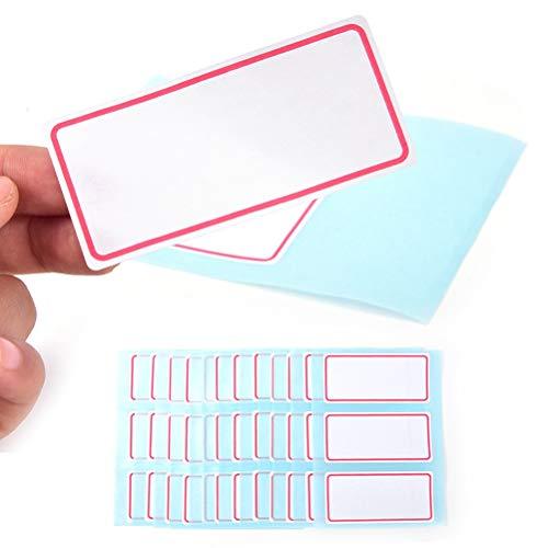 XinXinFeiEr Etiquetas autoadhesivas transparentes, 12 hojas/paquete de 34 x 73 mm en blanco, etiquetas adhesivas para escribir con nombre, pegatinas en blanco