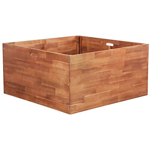 Lechnical Macetero de jardín de madera de acacia, macetero para plantas en madera para balcón y jardín, 100 x 100 x 50 cm
