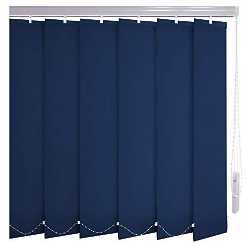 Sonnenschutz-HH® - Lamellenvorhang dunkelblau lichtdurchlässig - Breite 295 cm x 235 cm Höhe - Lamellenbreite 127mm Vertikaljalousie Vertikalanlage Schiebevorhang