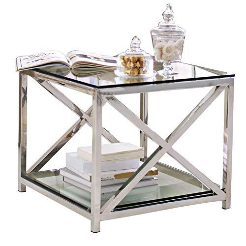Loberon Beistelltisch Stamford, Edelstahl/Glas, H/B/T ca. 50/53/53 cm, Silber/klar