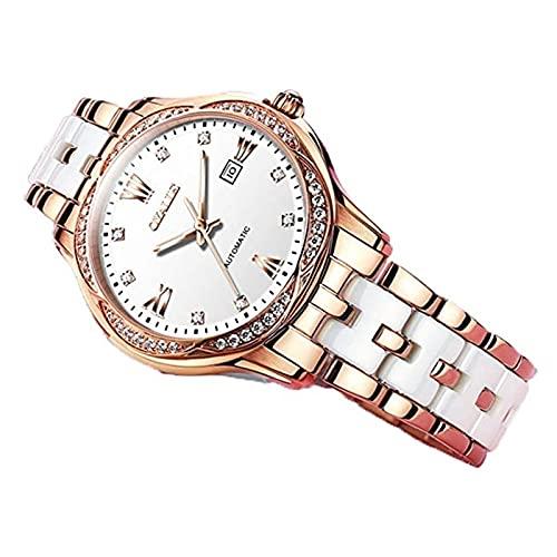 Yokbeer Reloj de Moda para Mujer, Relojes Mecánicos Automáticos para Mujer, Relojes de Noche Estrellada, Reloj de Pulsera Redondo de Acero Inoxidable de Cerámica con Espejo de Cristal de Alta Dureza