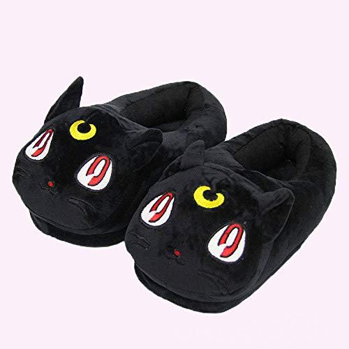 POWARM Herren Damen Herbst Und Winter Kuschelige Home Slippers Sailor Moon Cat Anime Indoor Baumwollschuhe-Schwarz_35-42 Meter