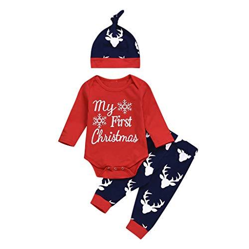 Baby Weihnachten Kostüm Outfit Kleinkind Boy Jungen Mädchen (0-24M) Kinder Weihnachten Schneeflocke Buchstaben Lace + Deer Pants + Hat,Xmas Festlich Christmas Set Schlafanzug