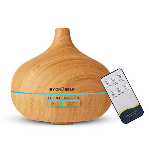 Télécommande Diffuseur d'Huiles Essentielles Ultrasonique 400ml,Diffuseur de Parfum Maison Electrique,Humidificateur d'aromathérapie avec 7 Couleurs Lumières LED pour Bébé Chambre/Yoga/SPA,Sans BPA